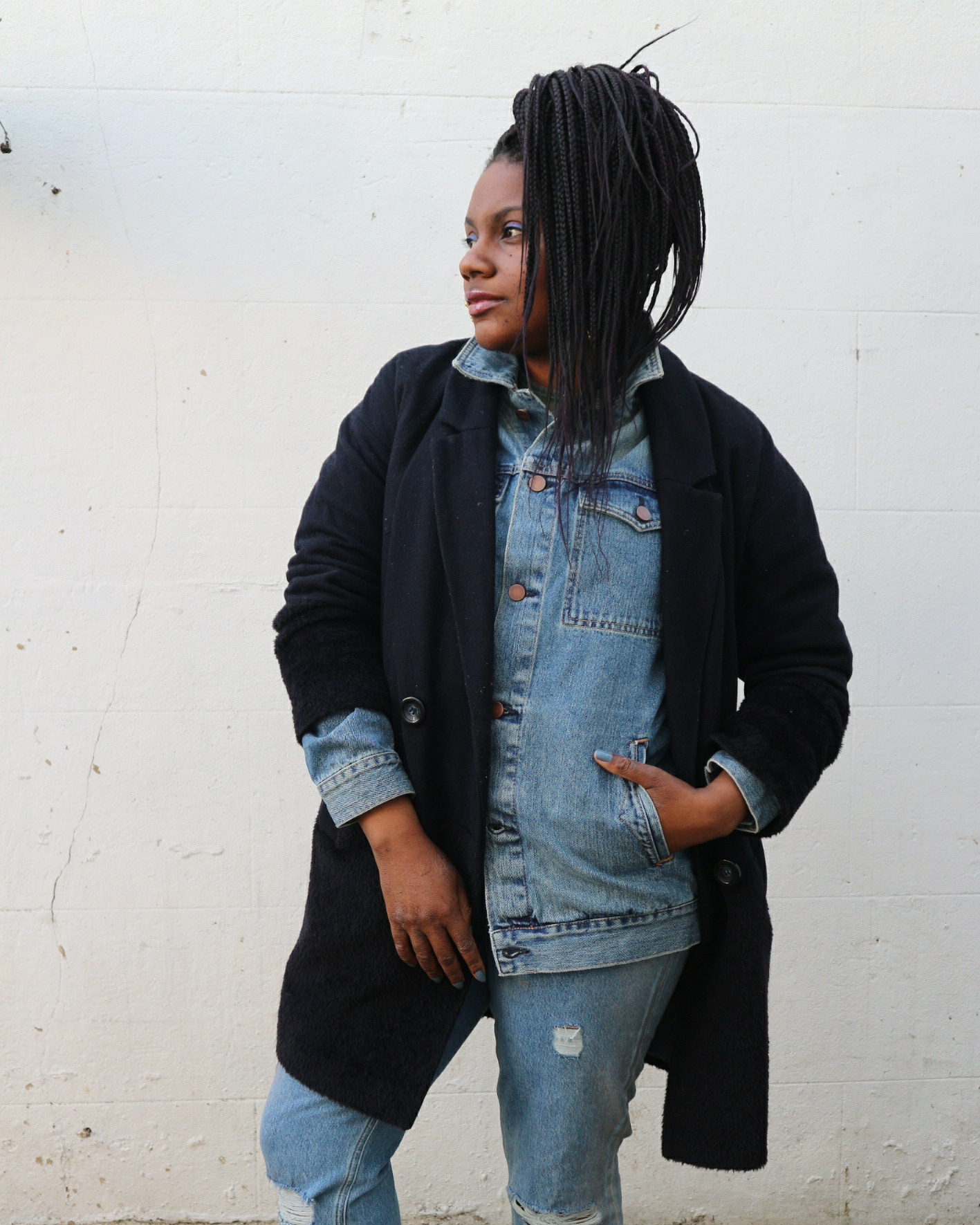 Mums That Slay How to Wear a Denim Jacket in Winter Asos Boyfriend Denim Jacket Fashion Blogger