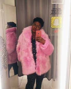 MAMA WANTS A SUPERFLY FAUX FUR COAT H&M pink faux fur coat