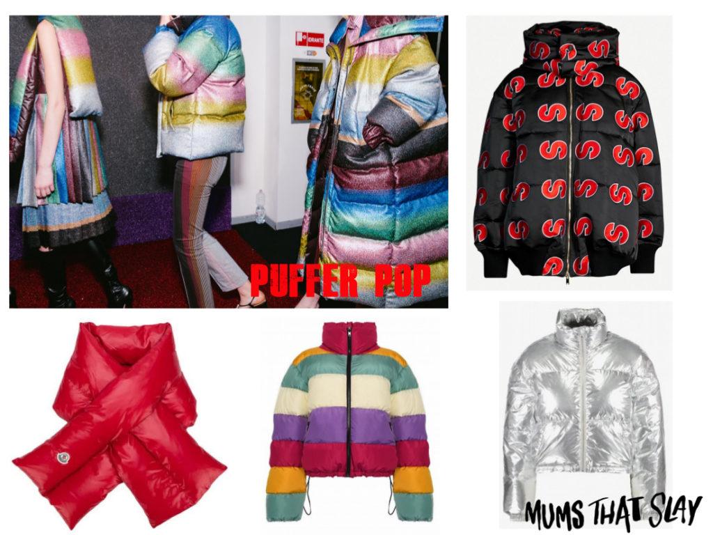 fashion blogger mama style rainbow puffer jacket trend